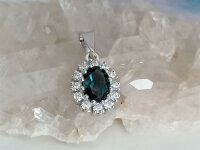 Lady Diana Style Anhänger mit London Blue/CZ in 375 WG